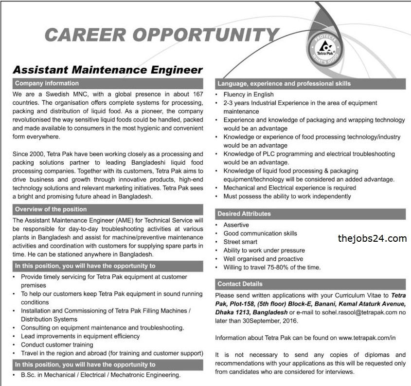 Assistant Maintenance Engineer Tetra Pak Job Circular  Job