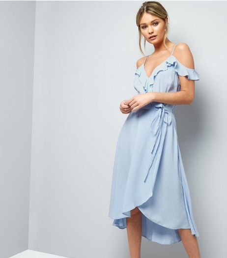Pale Blue Cold Shoulder Midi Dress New Look Bridesmaid In 2019