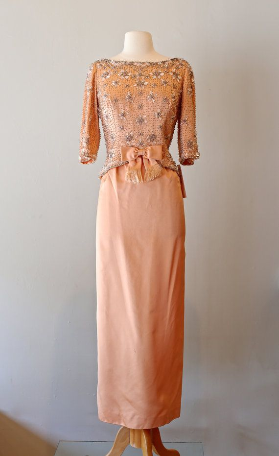 Vintage 1960s Beaded Gown By Victoria Royal Ltd. ~ Vintage 60s Peach ...
