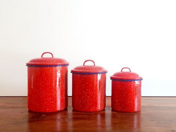 Red Enamel Canister Set Of 3 / Red Canister Set / Kitchen Canister Set /  Enamelware Canister Set / Kitchen Red Canister