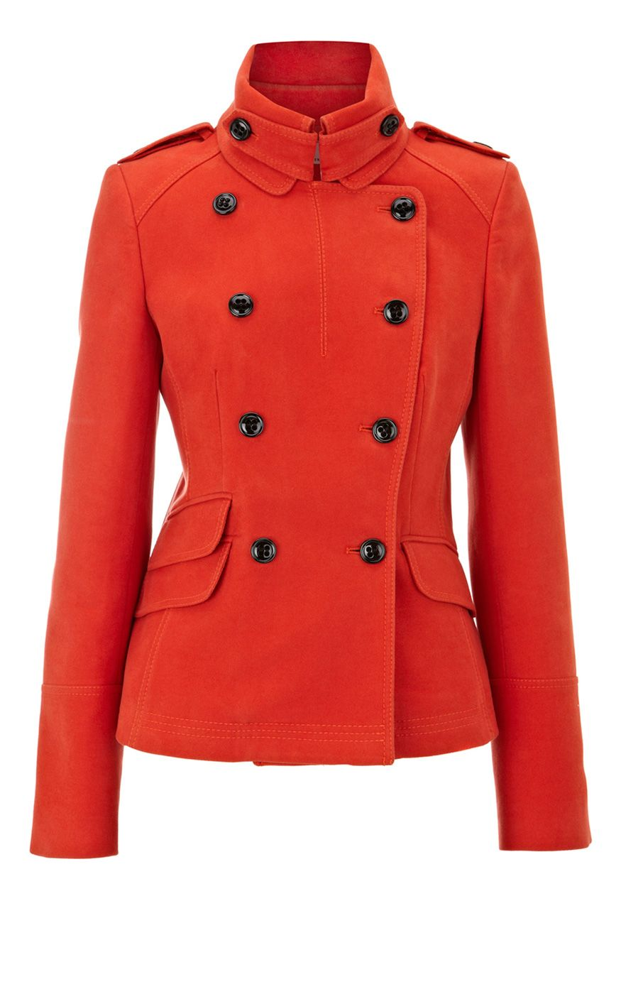 Karen Millen Knitwear Modern Military Moleskin Jacket in Red