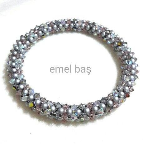 Cubic right angle wave bracelet with Swarovski crystals & pearls by Emel Bas from Turkey