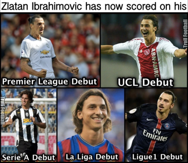 Zlatan scored in all his debuts. Legend!  Follow us on Facebook: http://facebook.com/lovesportsbuzz   Visit our website for sports news: http://lovesportsbuzz.co.uk