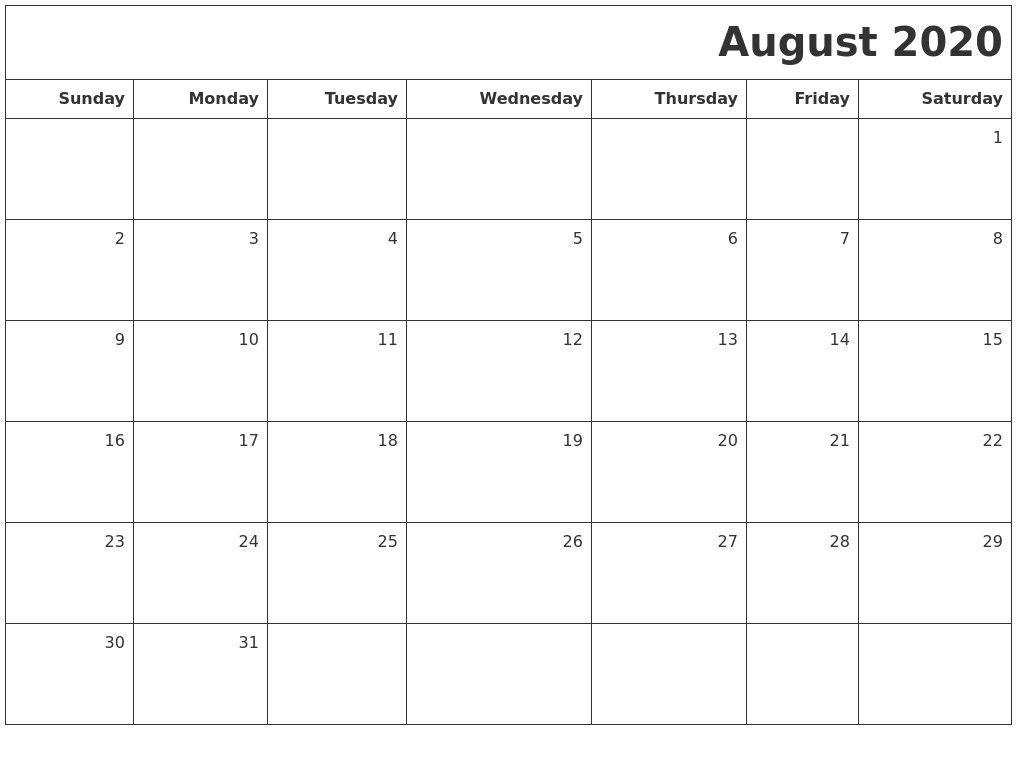 August Calendar 2020 Blank Template 2020 Printable Calendar