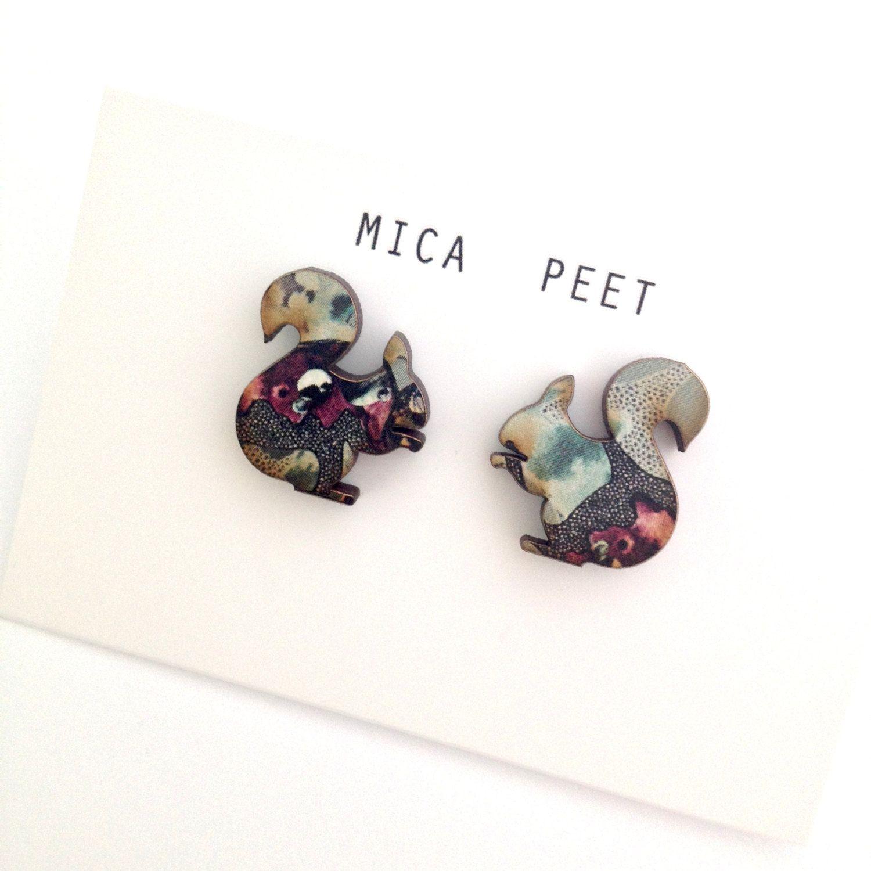 Squirrel Stud Earrings - Animal Earrings - Squirrel Jewellery ...