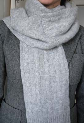 Hand stitched & repurposed gray cable-knit cashmere scarf.
