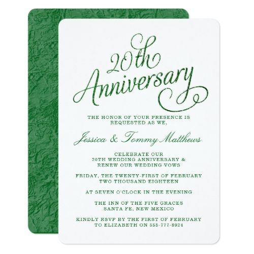Th Emerald Wedding Anniversary Invitations  Anniversary