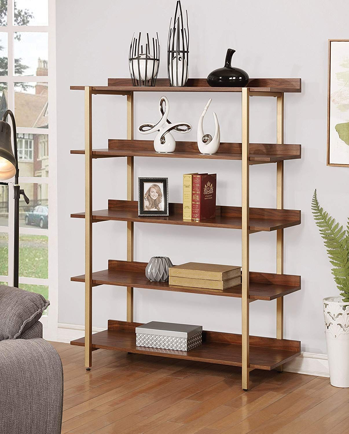 Modern Style Light Walnut And Gold Finish Expansive 42 Inch Shelves With Raised Edge Backs Glamorous Home Decor Furniture Deals