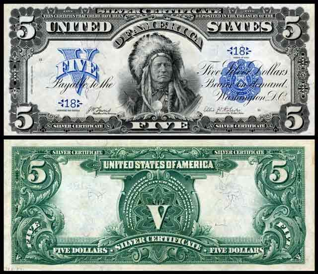 In 1899, the U.S. Mint issued a $5 silver note that features ...