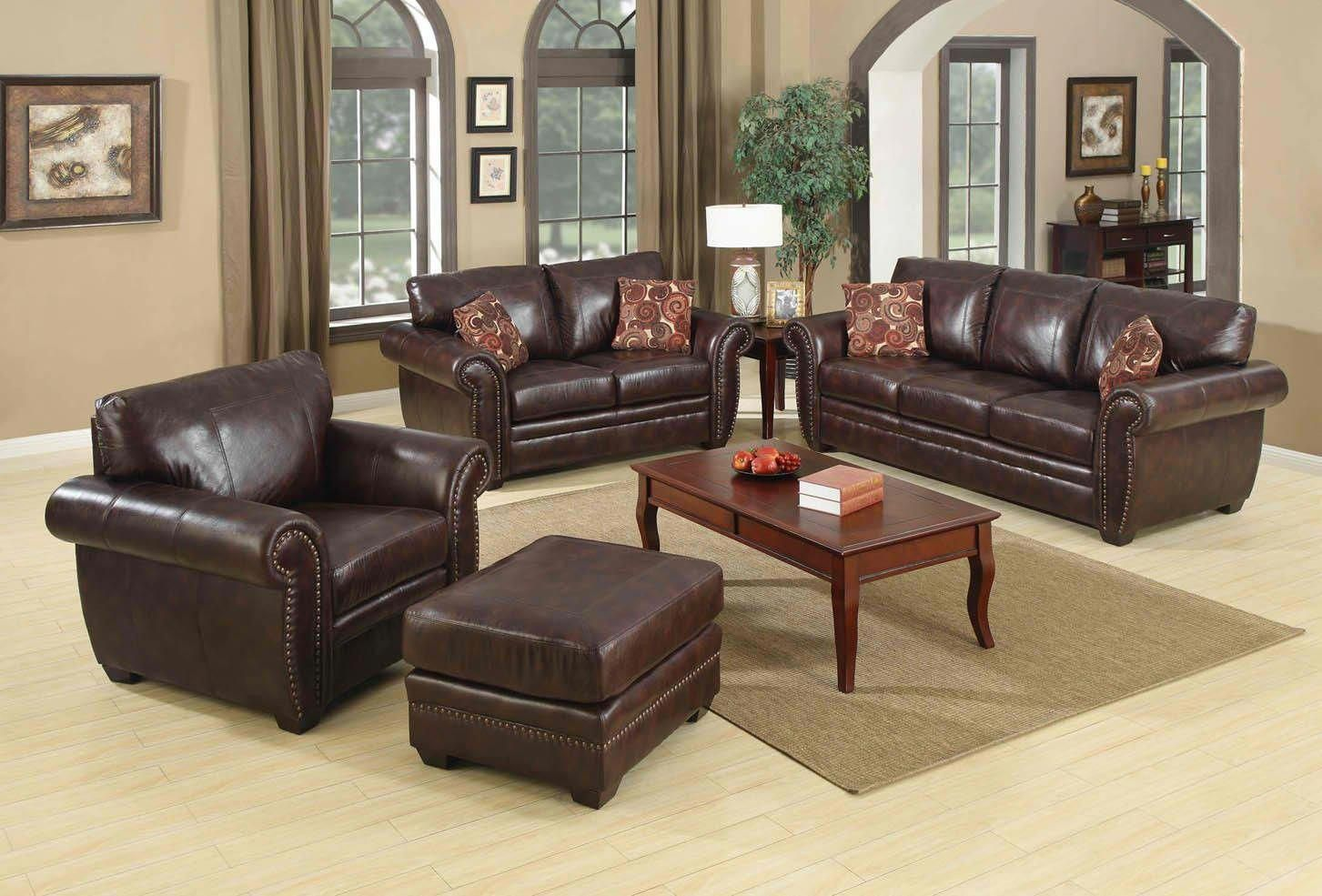 Contemporary Living Room Design With Black Leather Sofa Set And