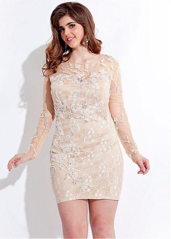 Elegant Tulle Lace Jewel Neckline Short Sheath Plus Size