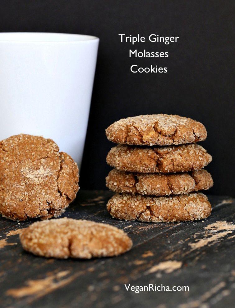 Triple Ginger Molasses Soft Cookies. 100% Spelt. Vegan Recipe - Vegan Richa
