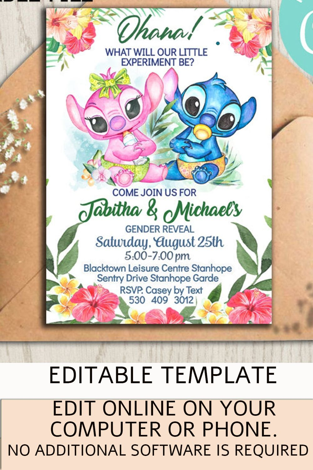 Lilo And Stitch Gender Reveal Invitation Baby Shower Hawaiian Party Palm Leaves Tropical Instant Download Editable Template Angel Baby Gender Reveal Party Gender Reveal Baby Shower Themes Gender Reveal Invitations