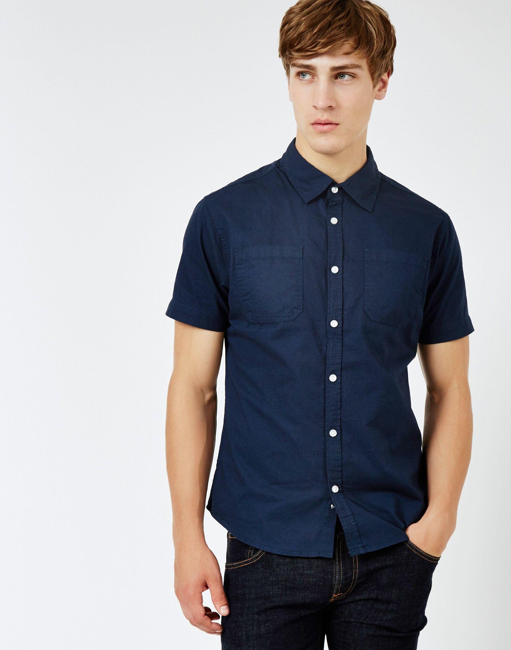 The Idle Man Twill Short Sleeve Shirt Navy | Shop men's smart ...