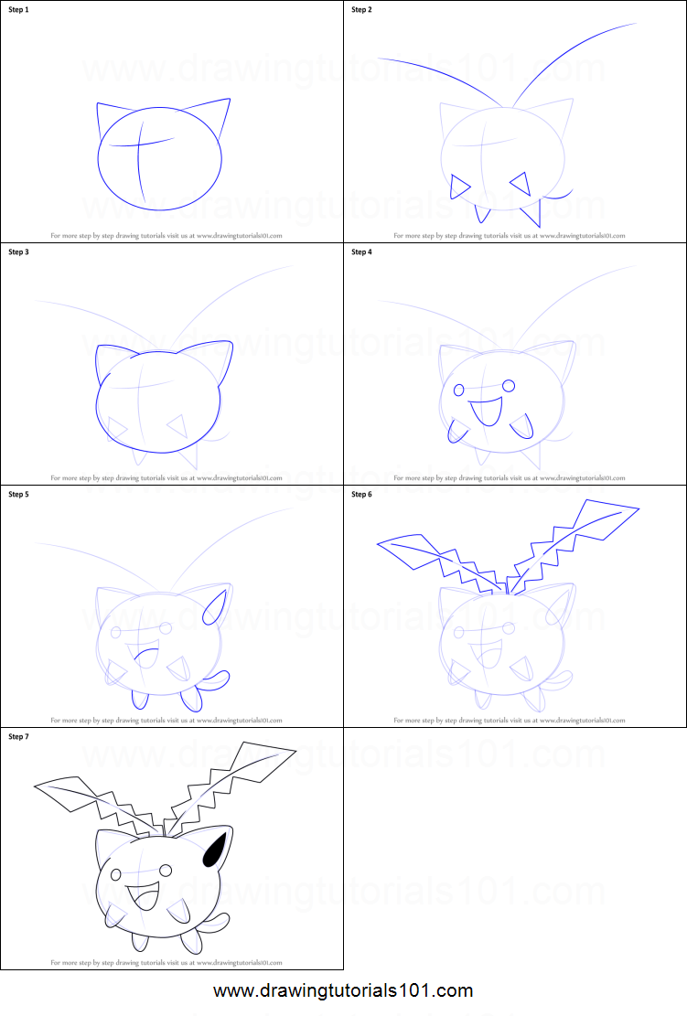 How to Draw Hoppip from Pokemon Printable Drawing Sheet by DrawingTutorials101.com
