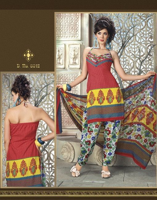 Printed Dress Material With Muticolored Dupatta