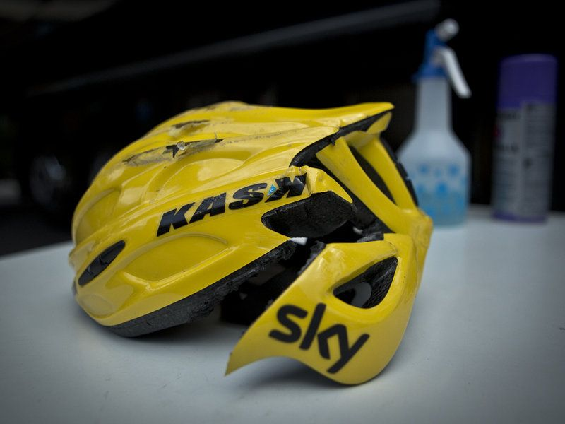 Team Sky   Pro Cycling   Latest News 2012   Scott Mitchell stage four gallery   The helmet did its primary job and took the force of the impact