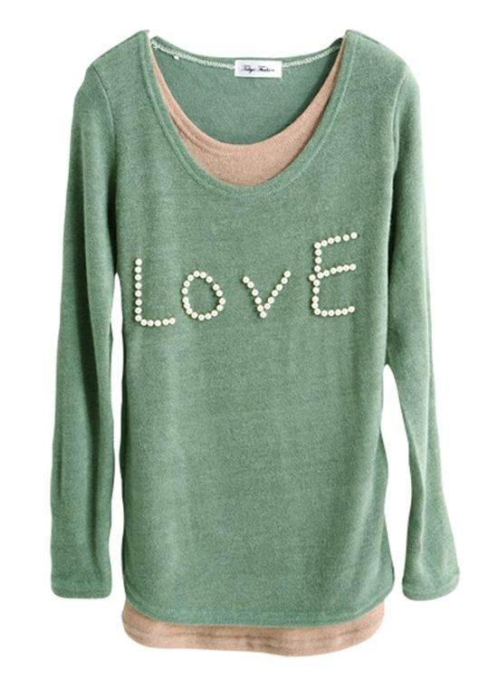 Lovely Green Winter Pearls Knit Blouses Girls  Item Code:#YC1027381+Green  Price: US$25.30  Shipping Weight: 0.55KG