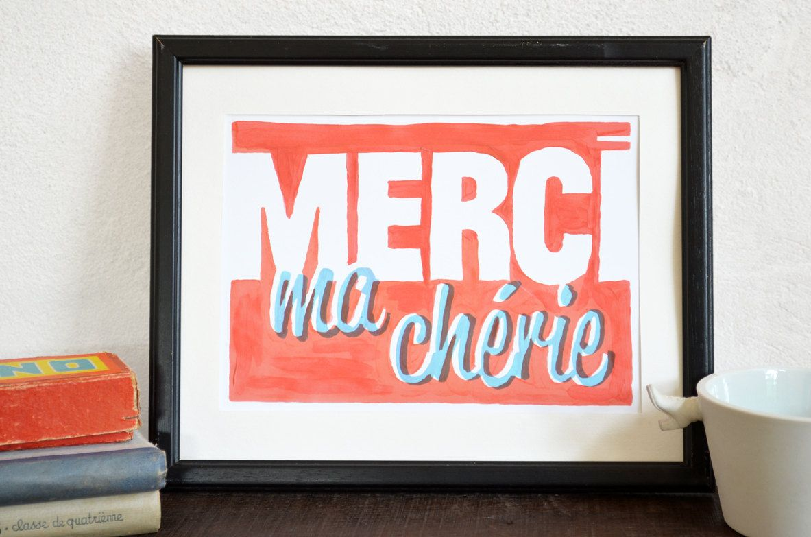 Merci Ma Cherie French Typography Print French Typography Typography Prints Typography