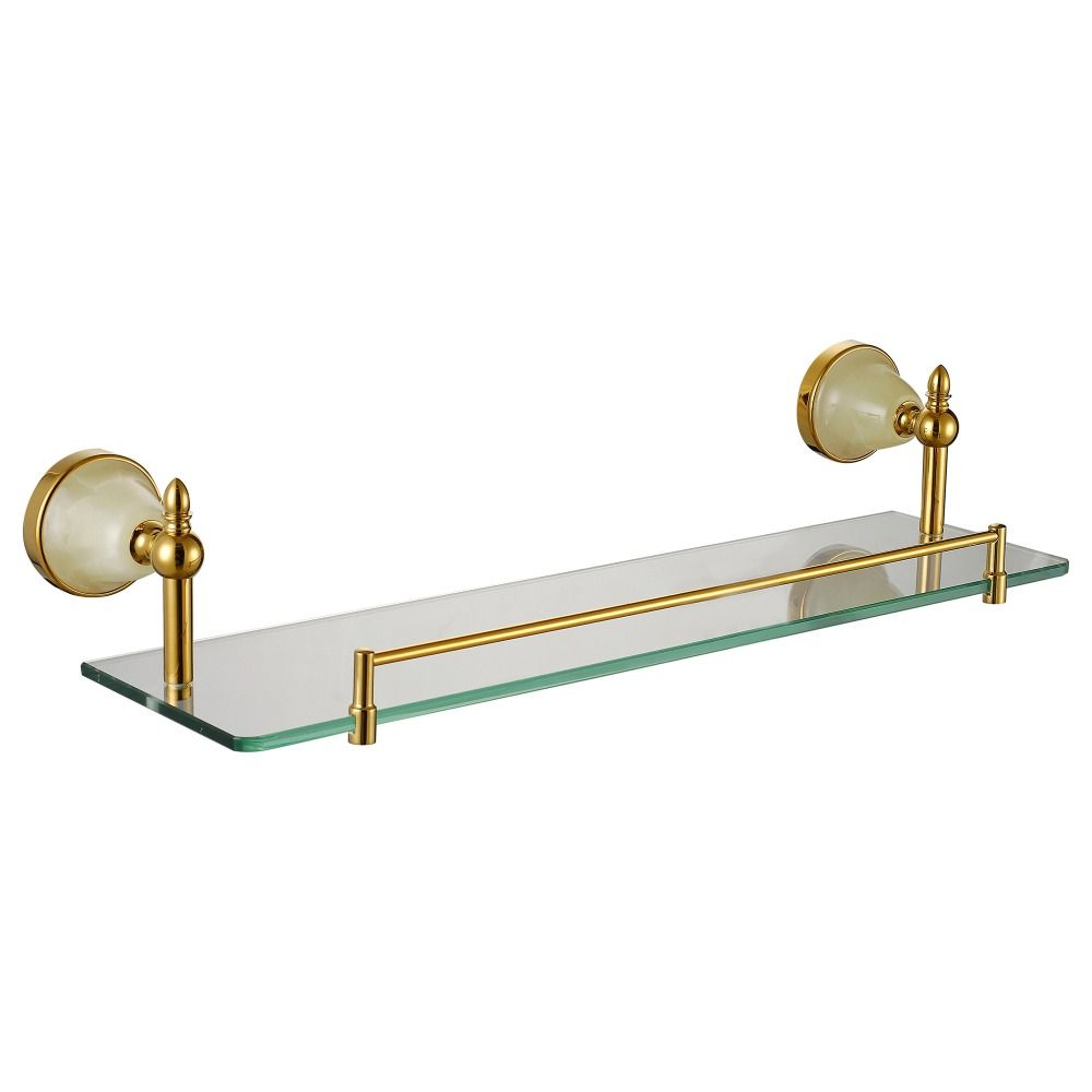 Photo of Glass shelf rectangle floating wall mounting 304 stainless steel and copper …