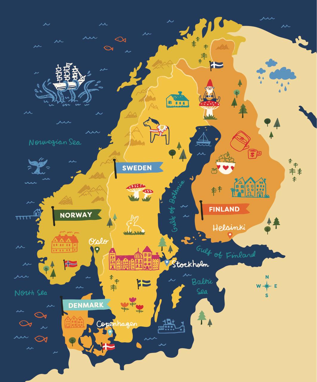 Scandinavia Scandinavia Pictorial Maps Illustrated Map