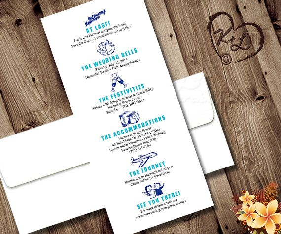 Printable Save the Date Itinerary Wedding Destination Bridal - wedding itinerary