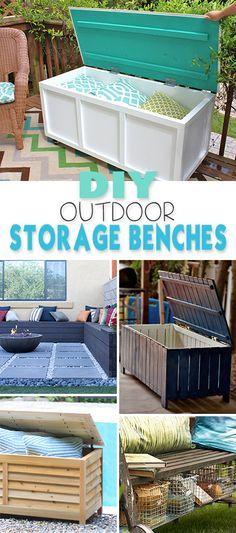 DIY Outdoor Storage Benches Terrazas, Madera y Jardín - terrazas en madera