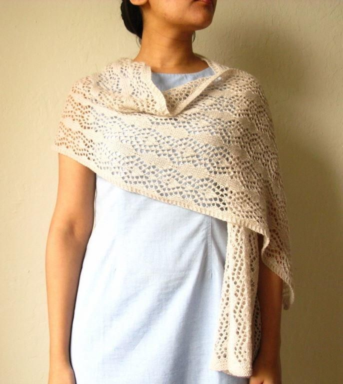 Lace Stole Knitting Pattern   Chal, Ganchillo y Dos agujas