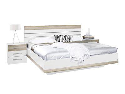 Lit, Set de 2 chevets TARRAGONA 160x200cm décor blanc