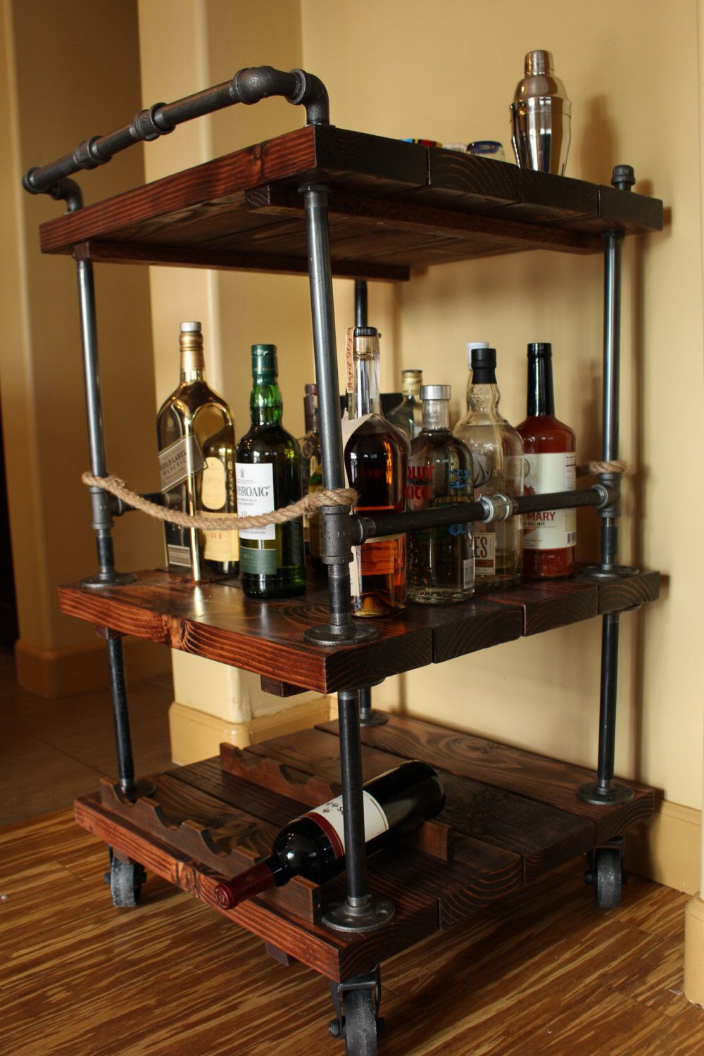 handmade rustic industrial pipe and solid wood bar cart. Black Bedroom Furniture Sets. Home Design Ideas
