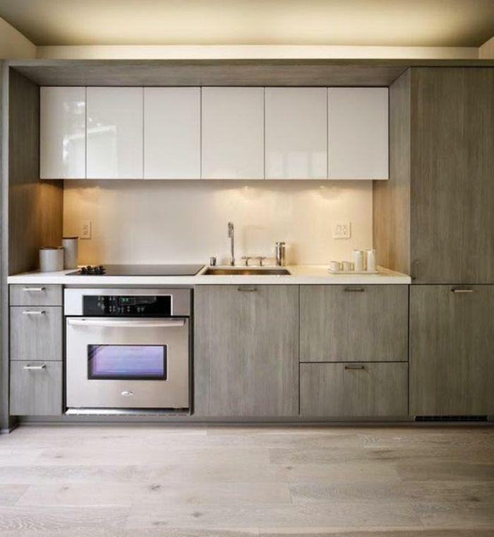 Cocinas rojas cocina en gris y blanco horno integrado for Quiero ver cocinas modernas