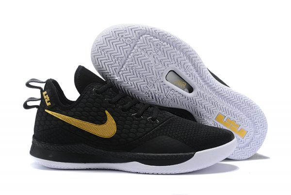outlet store e1993 d00db Nike LeBron Witness 3 Black Metallic Gold Mens Basketball Shoes-5