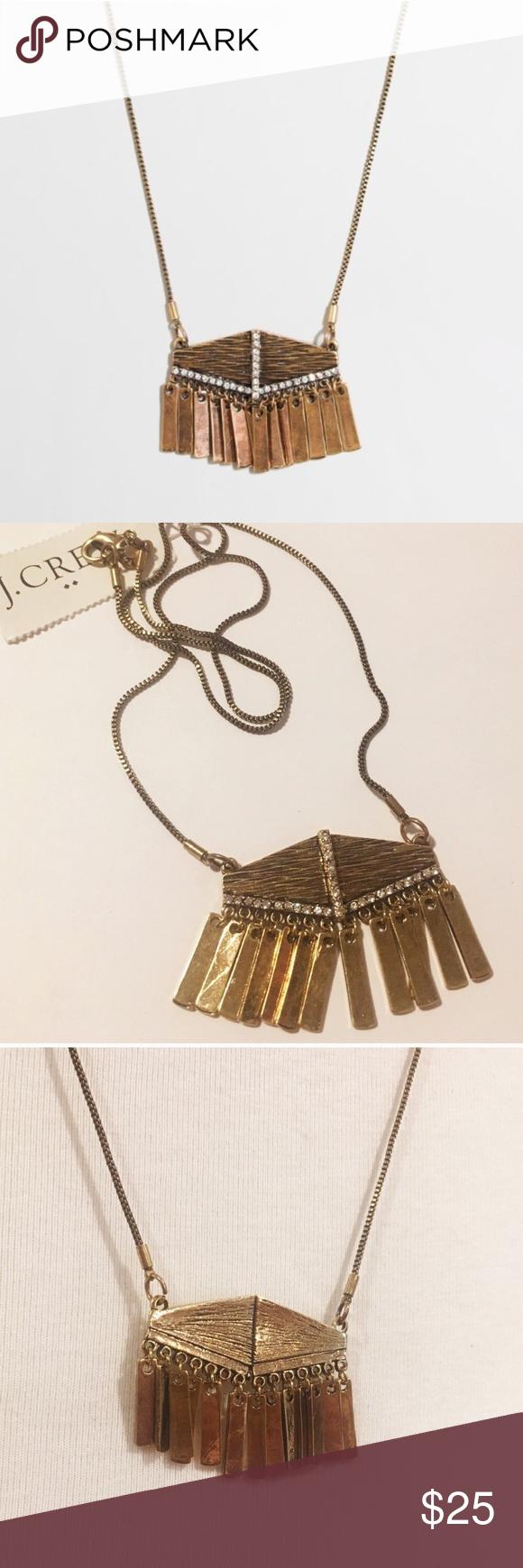 j crew fringe crystal pendant necklace nwt crystal pendant
