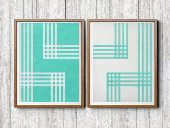 Abstrakt Illustration Paar, Digital Poster Download, farbe, weiss