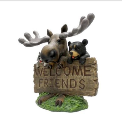 Garden Welcoming Statue Welcome Sign Figure Bear Moose Raccoon Decor Nature  Cute