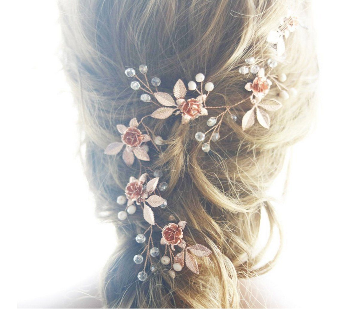 handmadejewelrylady rose gold leaf hairbands wedding hair