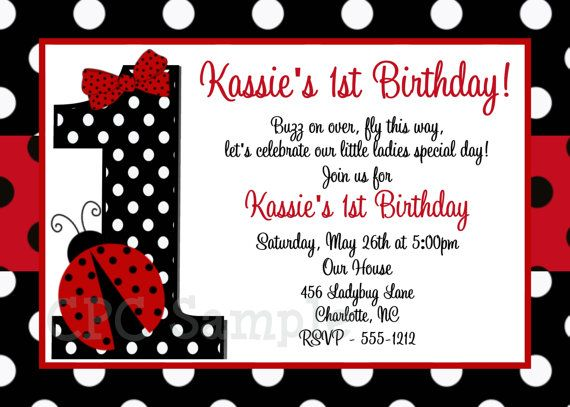 Red And Black Polka Dot Ladybug 1st Birthday Party Invitations