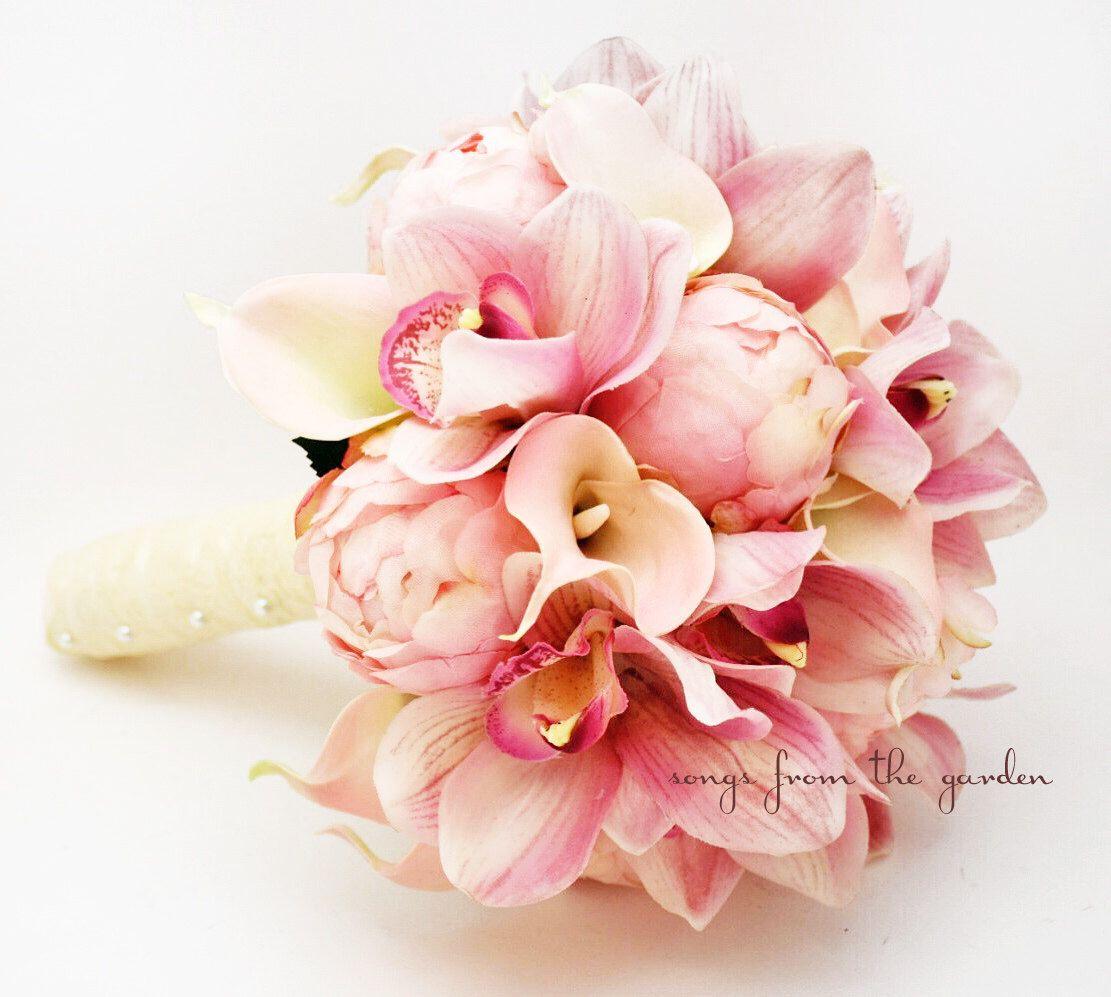 Bridal Bouquet Peonies Calla Lilies Cymbidium Orchid Pink Wedding ...