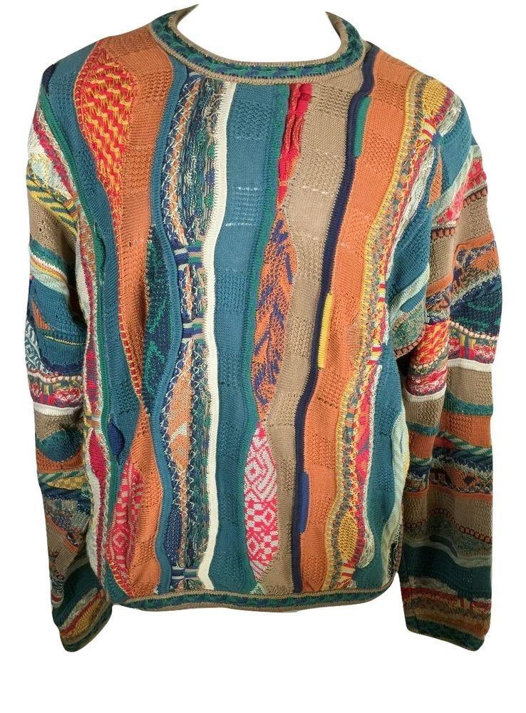 Vintage COOGI Mens L Mercerized Cotton 3D Colorful Hip Hop Biggie Sweater   COOGI  Crewneck 39ba103cf1