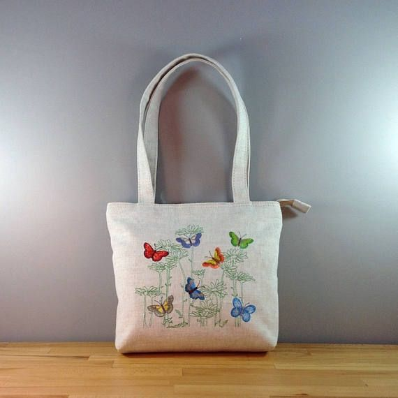 Butterfly bag Summer bag Natural fabric bag Embroidered ...