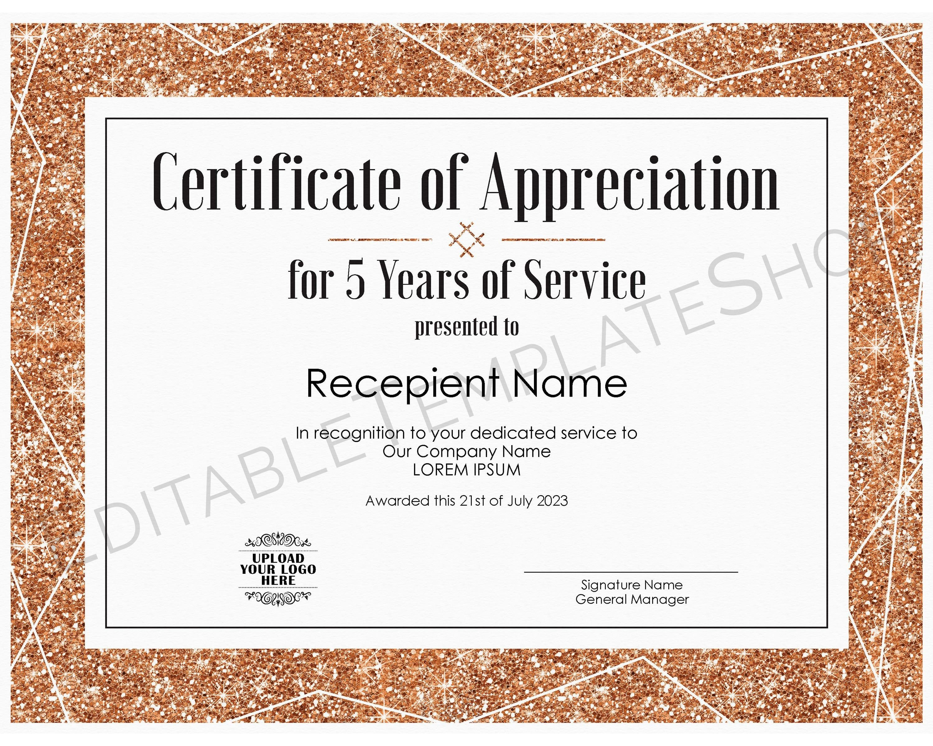 5 Years Of Service Editable Certificate Of Appreciation Etsy Editable Certificates Certificate Of Appreciation Awards Certificates Template Certificates for years of service