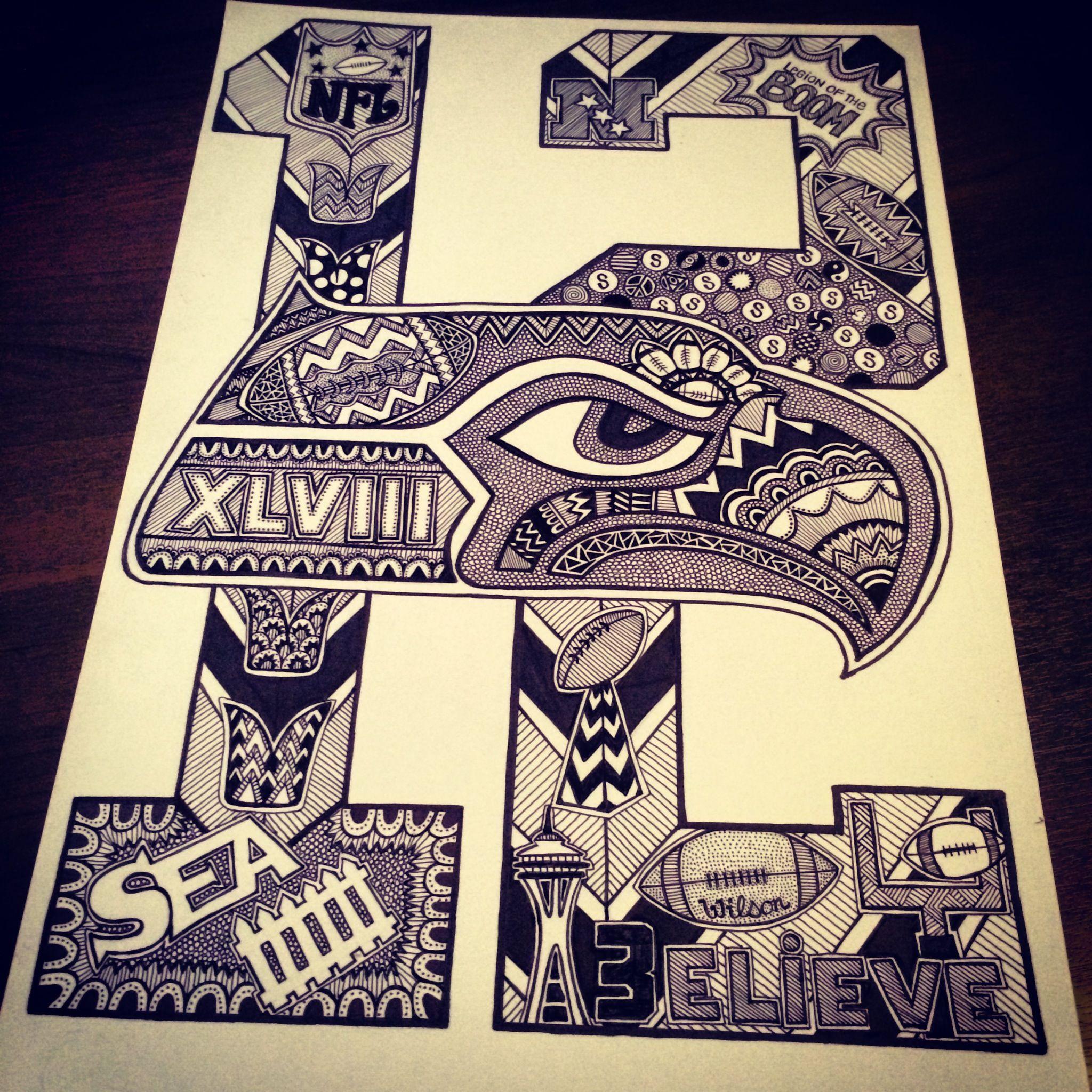 Seahawks Doodle/Art! Zentangle, Doodles, Sharpies, 12th Man, Go ...