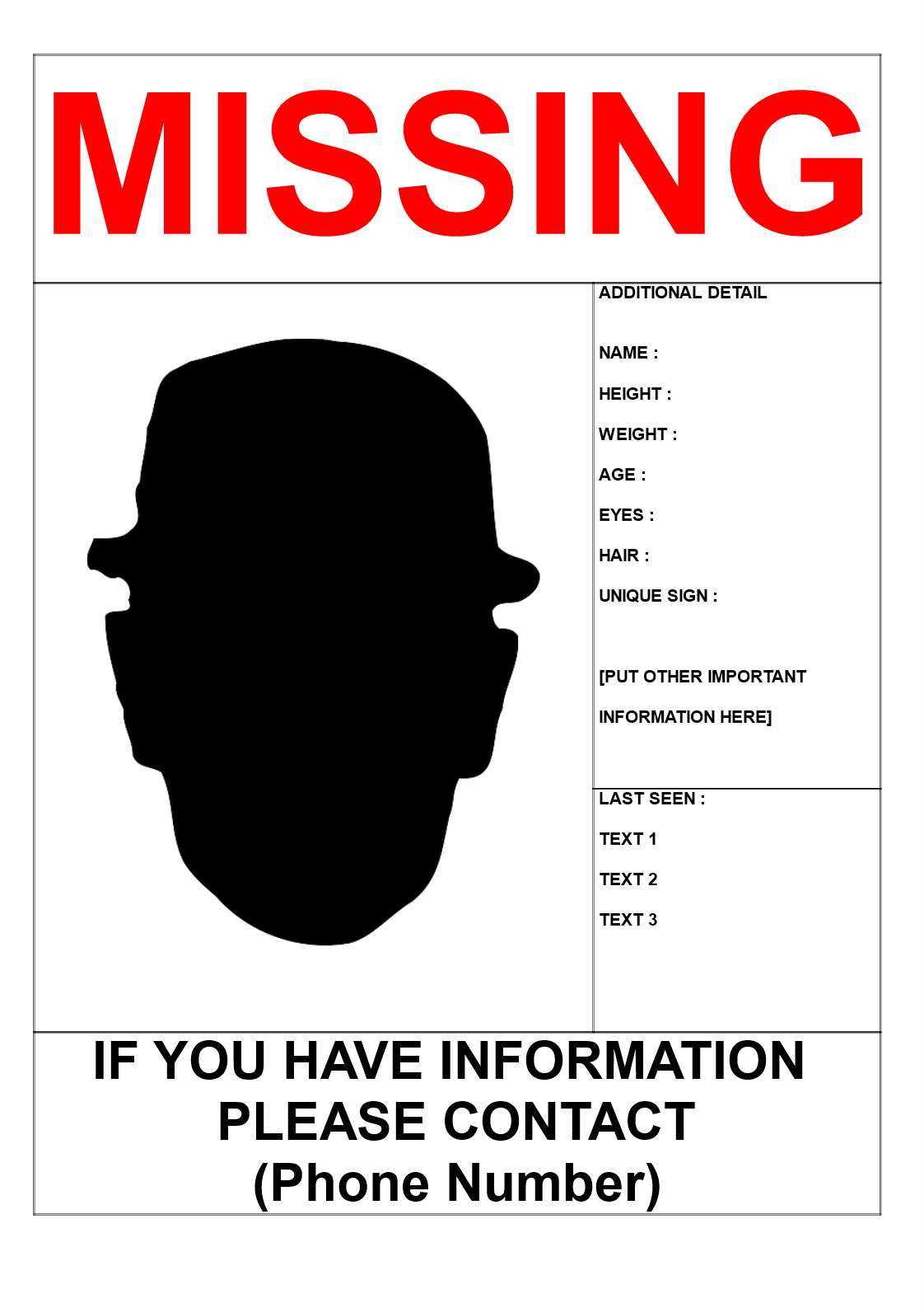 missing person poster template in a3 size download this missing