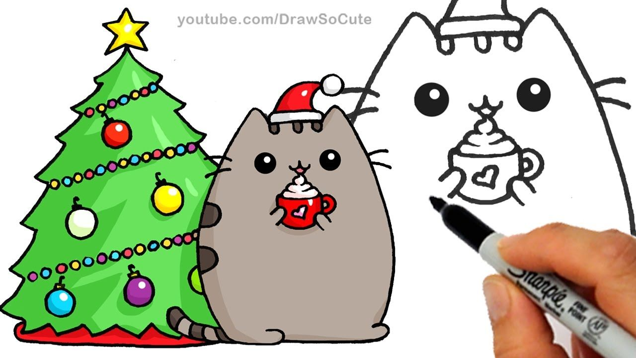 How To Draw Christmas Holiday Pusheen Cat Step By Step Easy And Cute Christmas Drawing Easy Drawings For Kids Cute Drawings