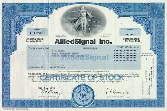 Alliedsignal inc stock certificate scripophily dow jones stock certificate yelopaper Gallery