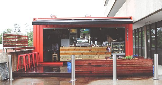 Red Baron Coffee S Shipping Container Cafe In Milton Great Idea Container Cafe Industrial House Coffee Shop Design