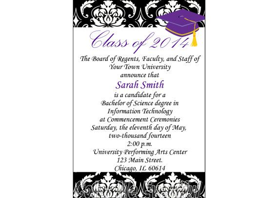 Purple and gold elegant graduation invitation - printable and ...