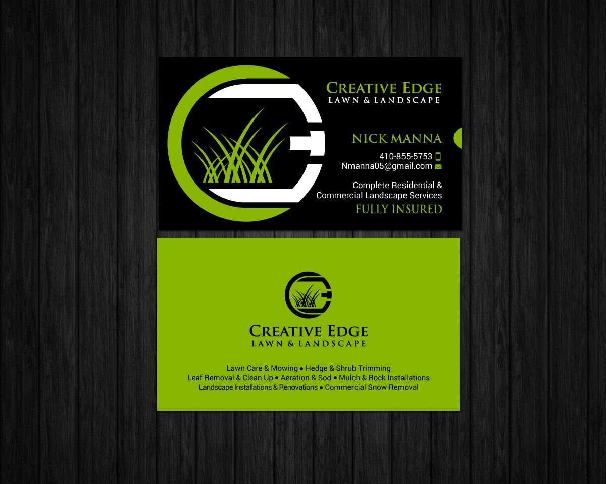 Bold Serious Landscape Business Card Design For A Company Inside Lawn Care Business Card Free Business Card Templates Lawn Care Business Business Card Design
