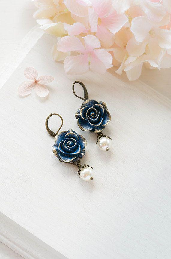 Navy Blue Rose Flower Dangle Earrings Gold Dark Blue Rose Cream White Pearl Drop Earrings Navy Blue Dark Blue Earrings Bridal Earrings Bridal Wedding Earrings