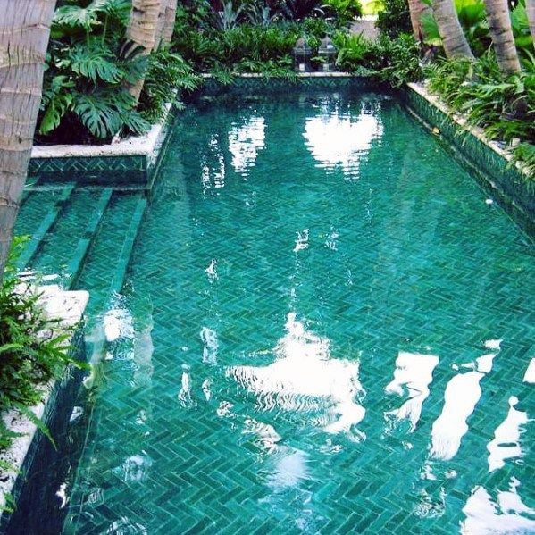Top 60 Best Home Swimming Pool Tile Ideas - Backyard Oasis Designs #backyardoasis
